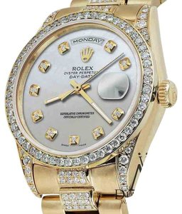 Rolex Rolex Presidential Day-Date White Dial Diamond Accent Watch 18KT Yellow Gold