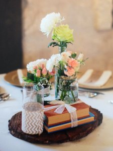 Vintage Style Books For Centerpiece Decor