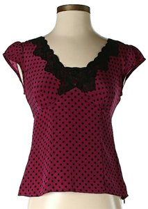 Nanette Lepore Silk Polka Dot Top Red