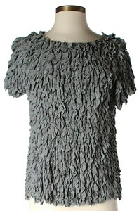 SUNO Shaggy Textured Top Grey