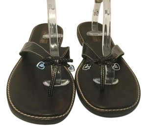 Brighton Tiny Silver Hearts Thong Flat Brown leather Sandals