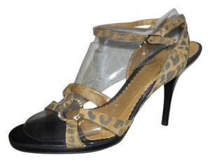 BCBG Paris Leather Animal Print Suede Rhinestone Sexy brown & tan Sandals