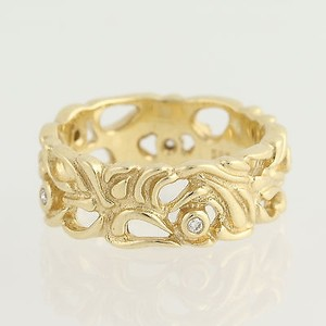 PANDORA Pandora Ring Abstract Ring 14k Yellow Gold Diamonds