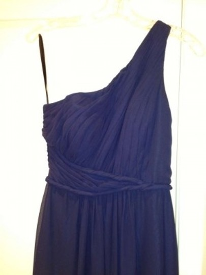 Liz Fields Navy Blue Chiffon One Shoulder Style 305 Formal Bridesmaid/Mob Dress Size 8 (M)