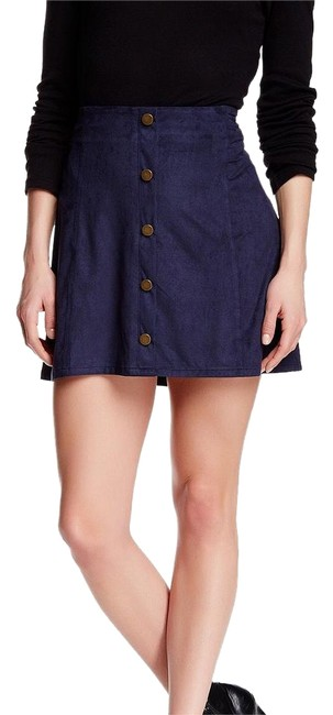 Item - Blue ** Free Shipping ** Faux Suede Skirt Size 8 (M, 29, 30)