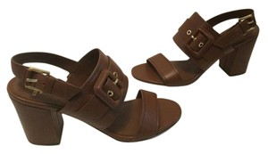 Cole Haan All Leather Ankle Straps Two Buckles Brown Sandals