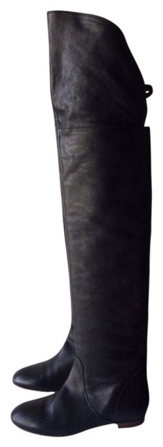 Item - Black Leather Over Knee New 37.5 Boots/Booties Size US 7.5