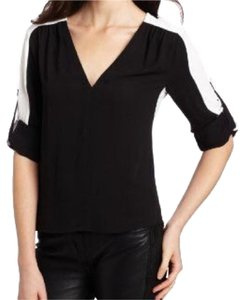 BCBGMAXAZRIA Top Black with white stripe