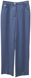 St. John Stretch Classic Summer Straight Pants Dark Blue