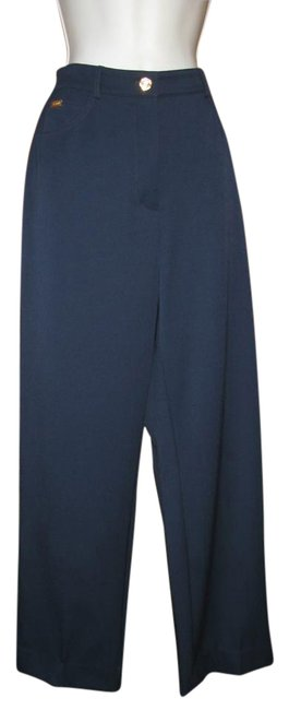 St. John Stretch Classic Summer Straight Pants Dark Blue Image 1