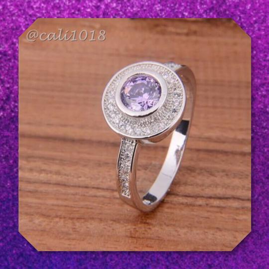 Other Amethyst And White Topaz 925 Silver Ring Image 1