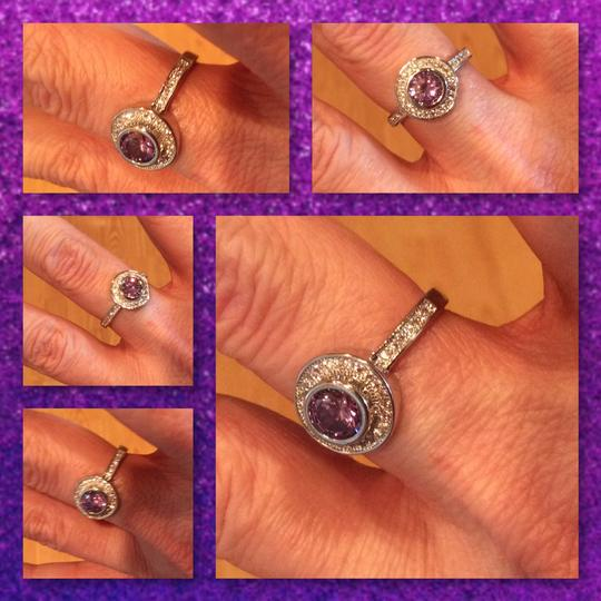 Other Amethyst And White Topaz 925 Silver Ring Image 3
