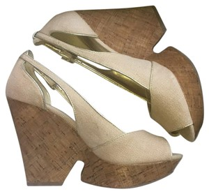 BCBGeneration Beige & Gold Wedges