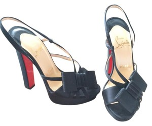 Christian Louboutin Satin Black Sandals