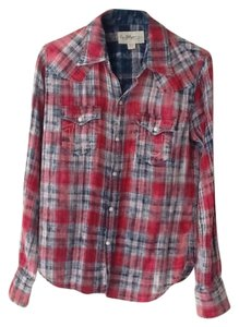 True Religion Plaid Plaid Button Down Shirt Red distressed