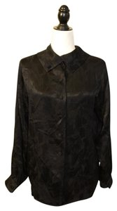 Saint Laurent Silk Vintage Designer Button Down Shirt Black