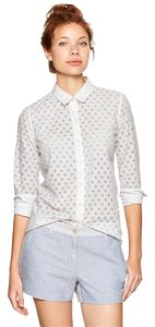 Gap Fitted Boyfriend Burnout Button Down Shirt White
