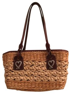 Brighton Straw Leather Hearts Shoulder Bag
