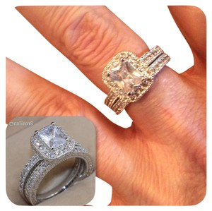 Other 2pc Absolutely Stunning Antique Style Wedding Ring Set 5 STARS ACROSS THE BOARD