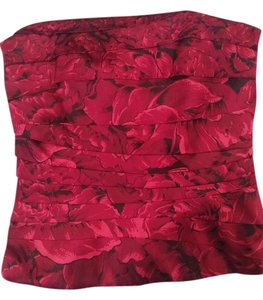 White House | Black Market Red Floral Satin Top Black, Red