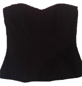 White House | Black Market Eyelet Corset Sweetheart Top Black
