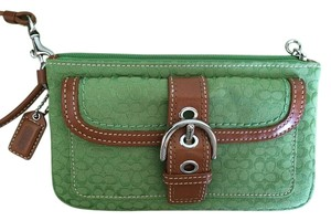 Coach Leather Detail Silver Hardware Wristlet in Green