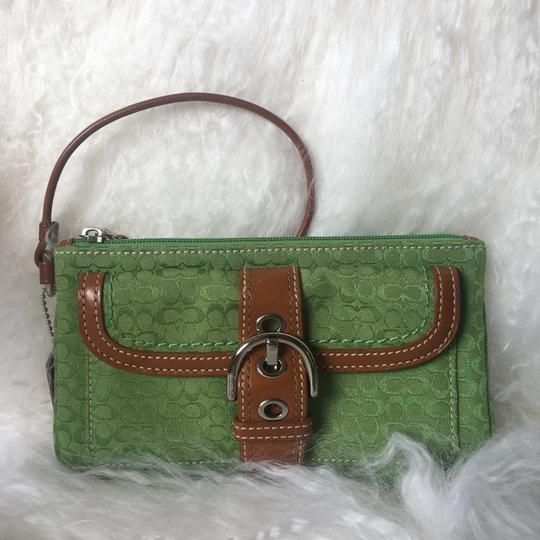 Coach Leather Detail Silver Hardware Wristlet in Green Image 1