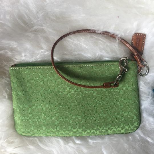 Coach Leather Detail Silver Hardware Wristlet in Green Image 2