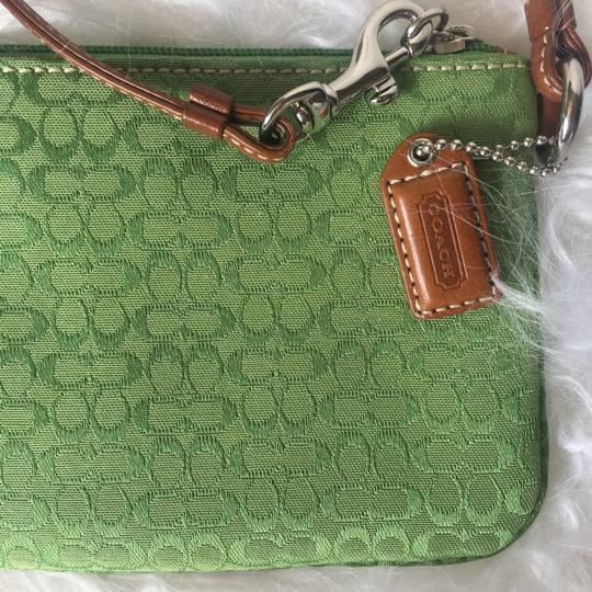 Coach Leather Detail Silver Hardware Wristlet in Green Image 3