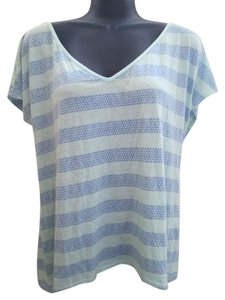 American Eagle Outfitters Printed Striped Knit Top Blue