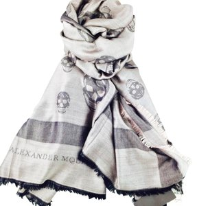 Alexander McQueen Alexander McQueen Gray Modal/Silk Blend Skull Shawl New With Tags