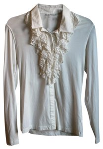 CAbi Collared Ruffle Lace Long-sleeve T Shirt white/off-white