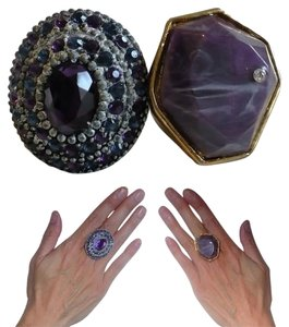 Urban Outfitters Lot of 2 Rings: Purple & Blue Rhinestones Pewter Setting + UO Marbled Stone Gold-Tone Setting