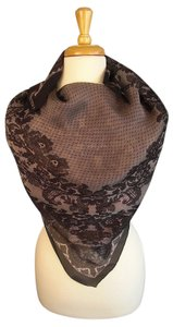 Valentino URBAN CHIC! NEW! Couture Silk Chiffon Embroidered Lace Foulard Scarf