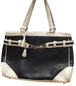 Coach Tote Leather Black Satchel in Blk/wht