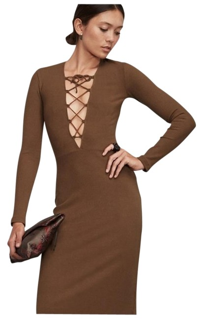Preload https://img-static.tradesy.com/item/16075513/reformation-cocao-edison-mid-length-night-out-dress-size-2-xs-0-1-650-650.jpg