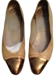 Chanel Beige Gold Flats