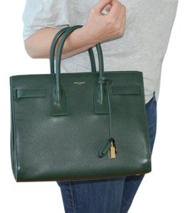Saint Laurent Laurant Leather Classic Satchel in Dark Green