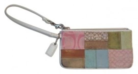 Preload https://item2.tradesy.com/images/coach-white-and-pastels-patchwork-leather-canvas-suede-wristlet-160756-0-0.jpg?width=440&height=440