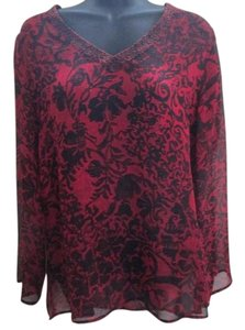 Chico's Silk Chiffon Printed Beaded Top Red and Black