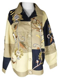 Indigo Moon Fall Embroidered Patchwork gold/black Blazer