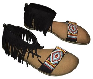 Dirty Laundry Bohemian Gypsy Fringed Vegan Black with multicolored bead work. Sandals
