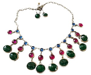 Other FAUX SAPPHIRE-RUBY-EMERALD-CLEOPATRA COLLAR BIB GOLD TONE NECKLACE W/EARRINGS