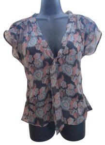 Urban Outfitters Silk Chiffon Semi Sheer Top Multicolored