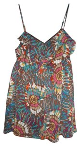 Candie's Colorful Ruffled Hippie Bohemian Tie Dye Top Multi-Color