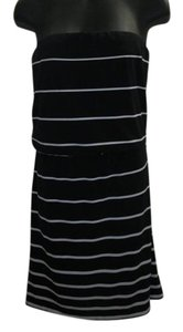 White House | Black Market short dress Black and White Jersey Striped Strapless on Tradesy