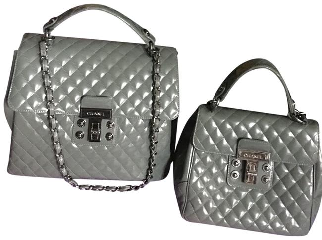 Item - Favorite (Hollywood Stars Favorite)chanel Large Aubergine Tote Hand 2 Way Gray Patent Leather Satchel