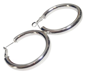 New Sterling Silver Hoop Earrings Large Round Thick J2624