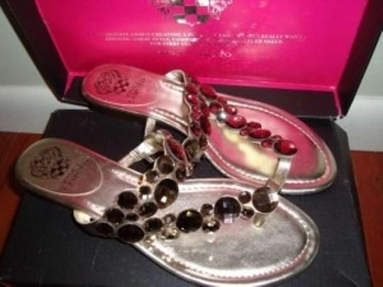 Vince Camuto Jeweled Jewels Wedge Leather Casual Dressy Comfortable Karat Gold Sandals