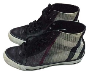 Burberry Designer Rare Hightops Comfortable Monogram Black grey white Athletic